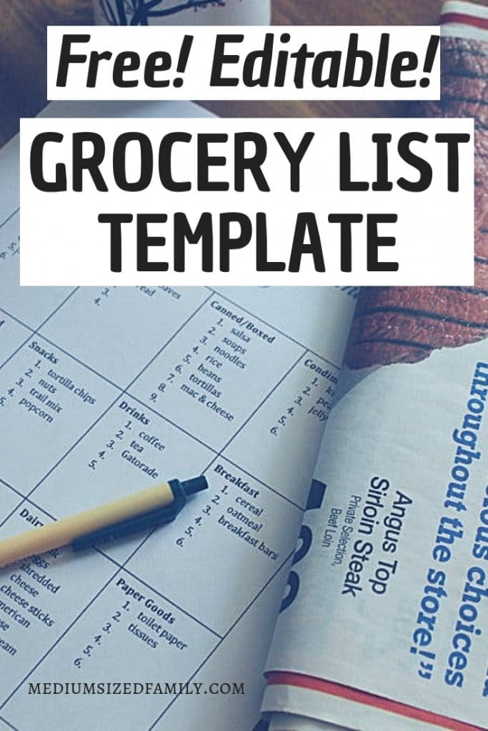 This free, editable grocery list template is going to make your life easier! Get a simple printable sheet you can save and use over and over again.