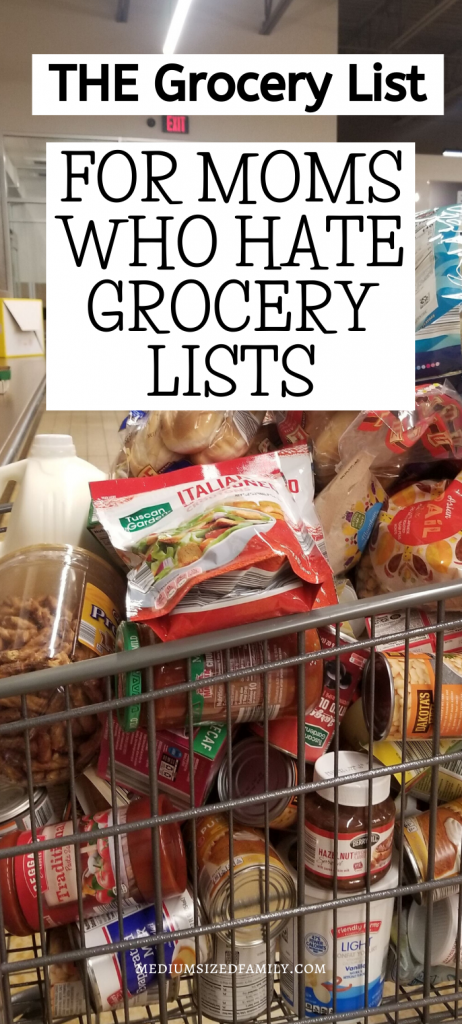 Looking for the perfect grocery list? The one that makes grocery shopping on a budget into less of a pain? This family grocery shopping list will save you some of those endangered mom brain cells!