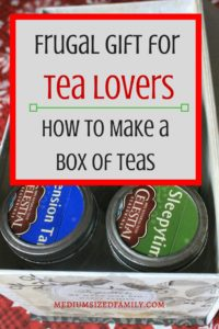 Here's a great frugal gift idea for tea lovers.  It has instructions for creating a box of teas DIY style.  What a fun gift idea!