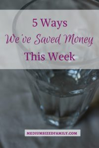 Read the latest in the ongoing series, The 5 Ways We've Saved Money This Week. Each week, this family lists the 5 new ways that they've saved money. Many creative and different suggestions here.