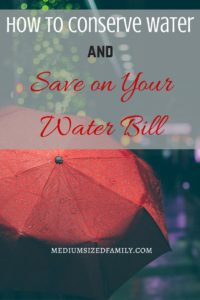 Ways to Conserve Water and Save On Your Water Bill. Get water saving ideas from this blogger who has no access to public water, a well, or a cistern in her home. She's got tons of water saving ideas.