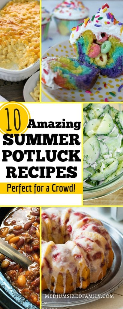 Click through to get summer potluck recipes that will wow a crowd!  These potluck ideas will help you find the perfect easy sides, desserts, or appetizers so you can make dishes that everyone devours. Put this food on the menu for your next party, picnics, or any family gathering you have this year!  #potluck