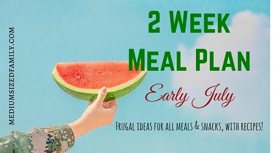 2 Week Meal Plan for Early July