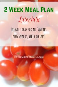 2 Week Meal Plan for late July. This is a full menu with all 3 meals, snack ideas, and recipes included.