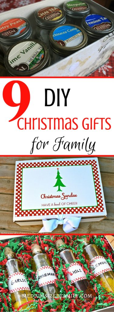 9 Ideas for totally doable DIY Christmas gifts for family. A variety of do it yourself Christmas presents that just about anyone can handle making on their own!