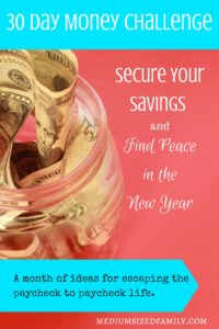 Secure Your Savings and Find Peace in the New Year; The Money Challenge. Looking for a new year challenge that will set your 2017 up for a great start? This money challenge will help you escape paycheck to paycheck living by giving you the means to set up your sinking funds and/or emergency funds. With this 30 day money challenge, you'll be ready to tackle whatever this year throws your way!