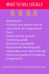 A list of things you can sell in your area.
