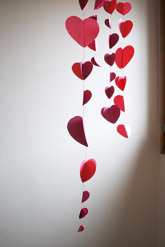 Valentines Day Decor Ideas Paper Heart Chandelier