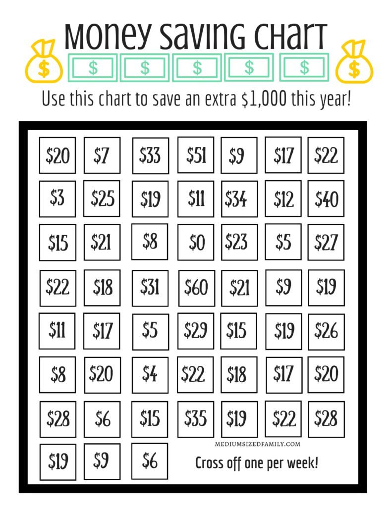 52 Week Money Challenge Free Printable