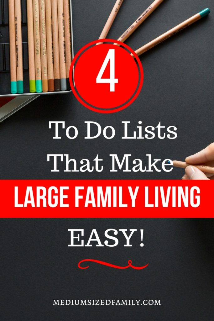 These 4 simple to do lists make large family living easier than ever! #largefamily #organization
