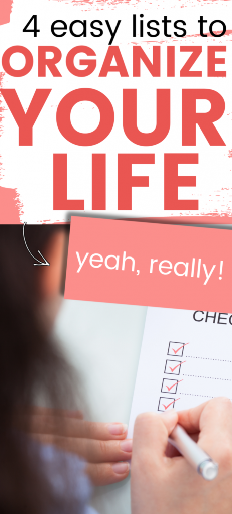 Lists to organize your life.  Ideas so you can manage your life as mom.  Get tips on how to create to do lists so you can organize your family life.  #organizeyourlife