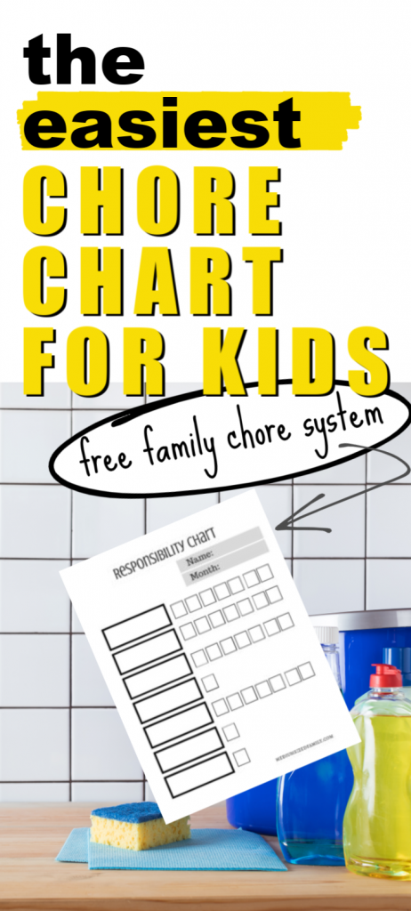 Looking for a responsibility chart for kids? This family chore system has free printable chore charts you can print out prefilled or you can DIY your own ideas. With tips from a mom of 6 for making it really work.