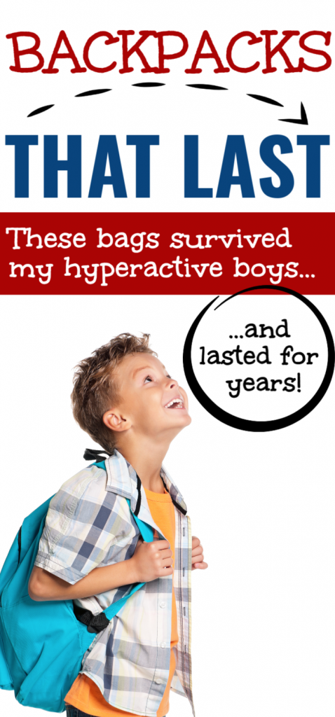 If you're shopping for back to school supplies, don't forget a good sturdy backpack. These durable bookbags will last for years, even if you have boys. Backpacks for boys, bookbags for kids, backpacks for tough kids