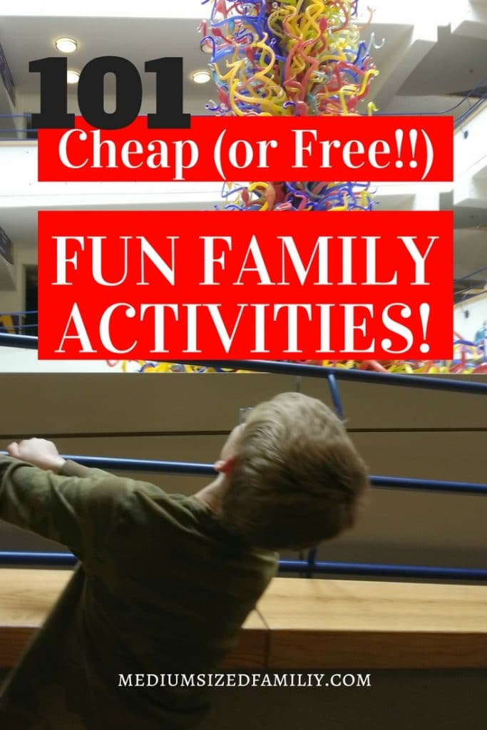 Many of these fun family activities can be done at home with the whole family. From toddlers to teens, preschool kids to adults, everyone will love this quality time! These fun ideas are cheap and many are free. Enjoy these games on a summer weekend or a winter day indoors.