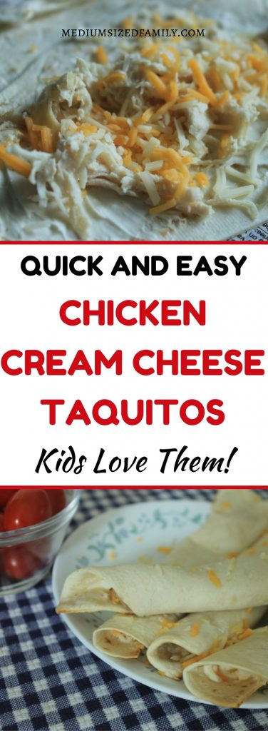 Yum! Quick and easy cream cheese and chicken taquitos make snack time or lunches easier than ever!