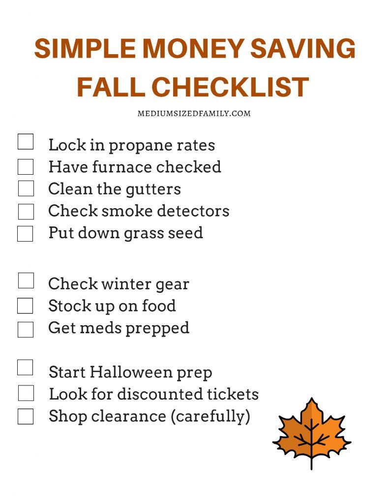 Simple Money Saving Fall Checklist