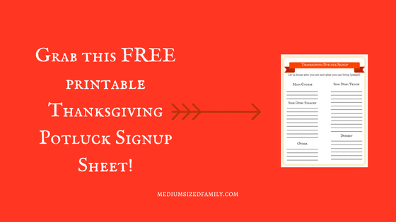 Thanksgiving Potluck Signup Sheet!Thanksgiving Potluck Signup Sheet!