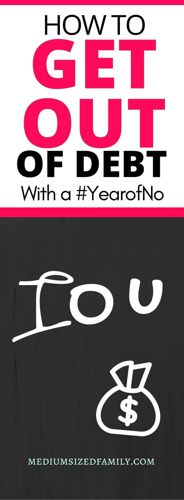 Learn how to get out of debt faster by adopting a #yearofno in your home. #moneysavingtips #creditcards