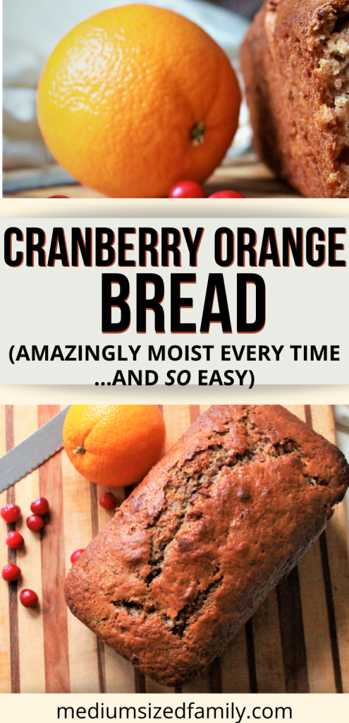 This easy cranberry orange bread recipe is so easy and gets you a moist, delicious loaf of quick bread every time. Make this orange cranberry bread for breakfast or a snack today. Yummy dessert that your family will love using canned cranberries. #cranberryorangebread