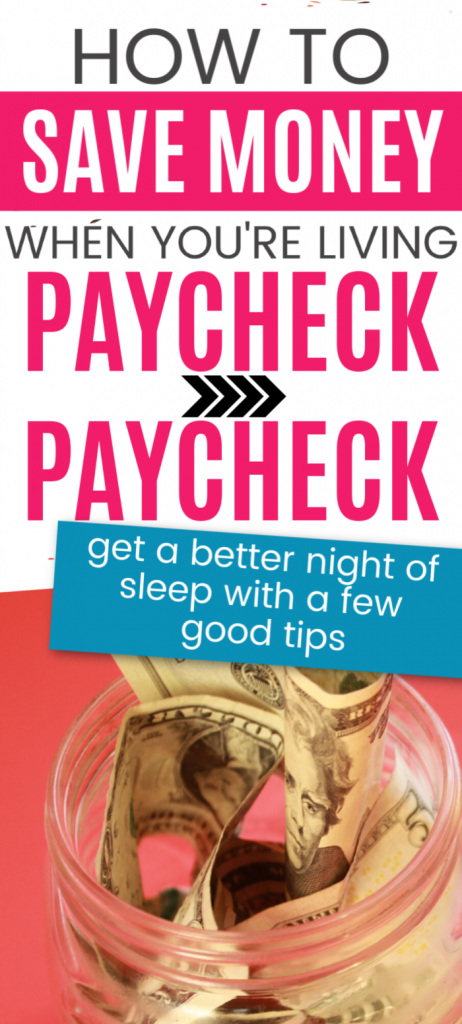 Living paycheck to paycheck? Use these simple tips to learn how to save money even when living paycheck to paycheck.  Ideas to help you budget so you can find extra cash at home.