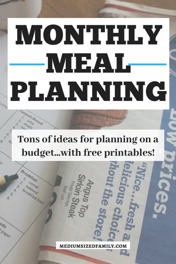Check out this post! Tons of info on monthly meal planning including printables. Get tips for pulling together your menu plan on a budget, with recipes and seasonal ideas for every month of the year. Families are going to save a lot of time and money with this resource! #mealplan