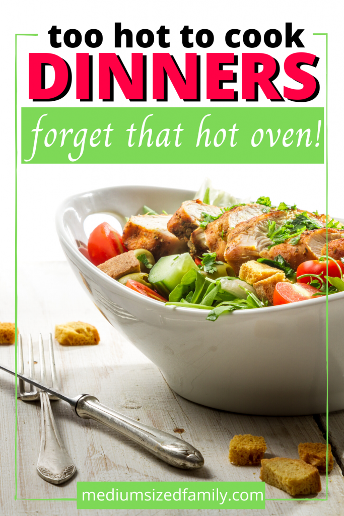These too hot to cook dinners are the best recipes for hot days. Don't want to use your oven? These healthy no cook recipes will hit the spot. Dinner when it's hot.  What to cook when it's too hot.
