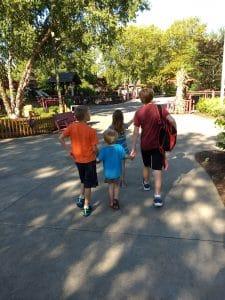 large family kids walking