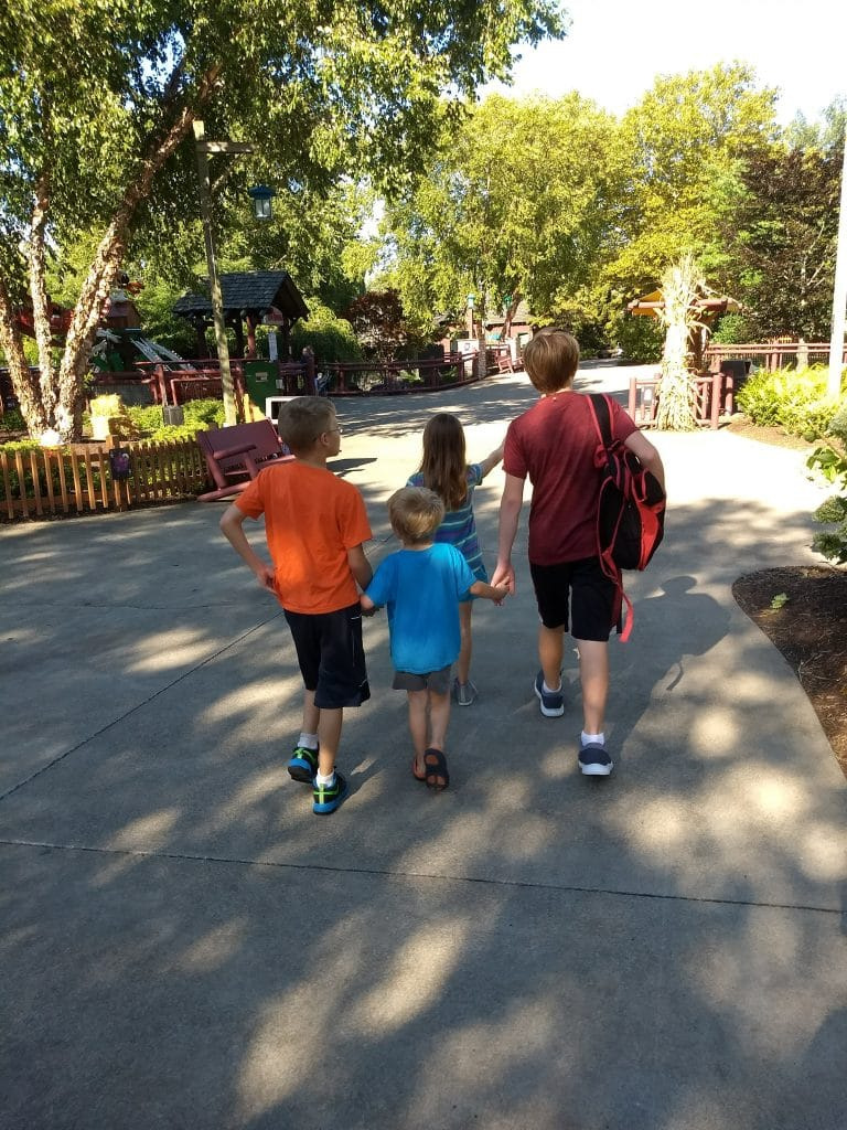 large family kids walking