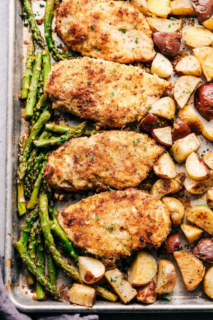 Sheet Pan Crispy Parmesan Garlic Chicken