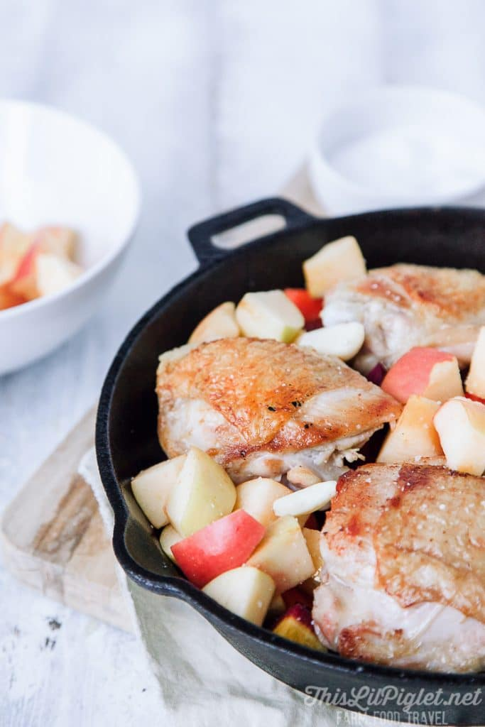 Skillet Chicken with Apples and Root Vegetables
