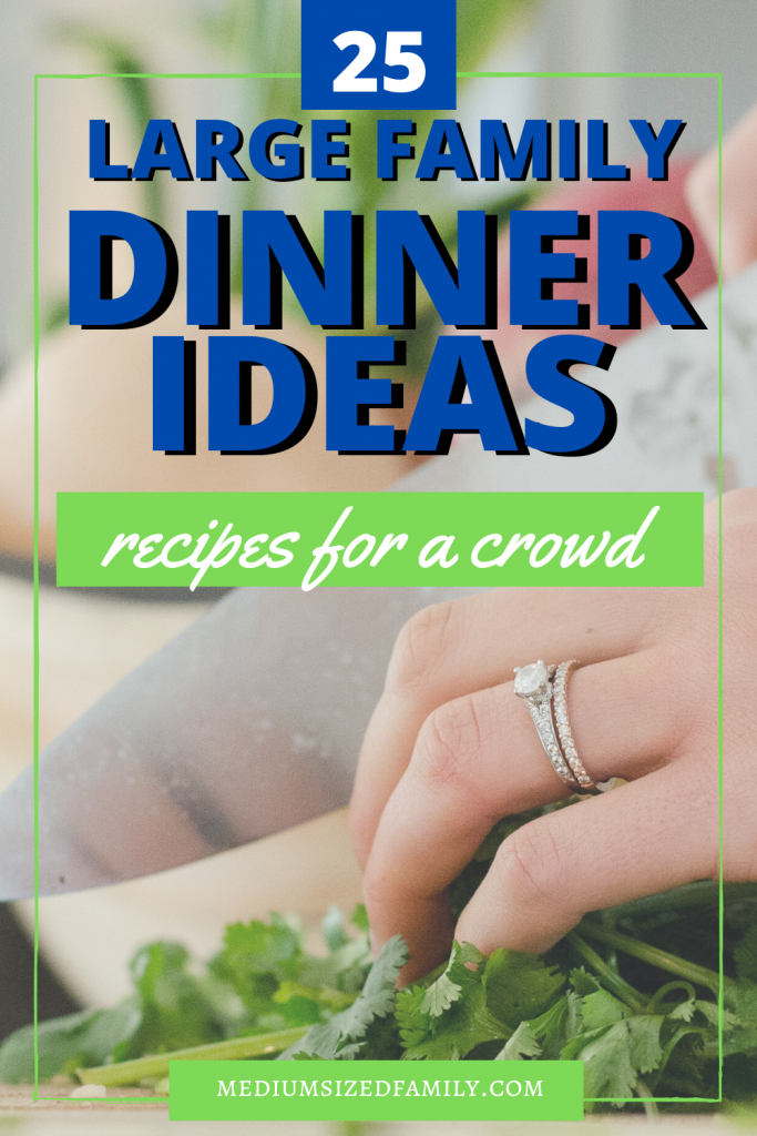 Large family dinner ideas, recipes to feed a crowd, easy meals to cook for a crowd, comfort foods on a budget for parties, holidays, and family gatherings, frugal meals for large families, cheap meals for large families, big family meal ideas and recipes #largefamily #cookingforacrowd