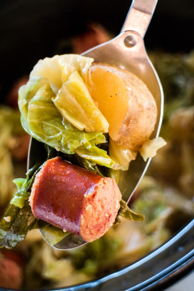 Slow Cooker Cabbage and Kielbasa