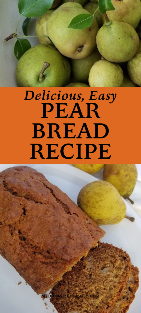 This easy pear bread recipe is so delicious! It's the perfect way to use up old pears! You can also freeze this quick bread for up to 6 months.