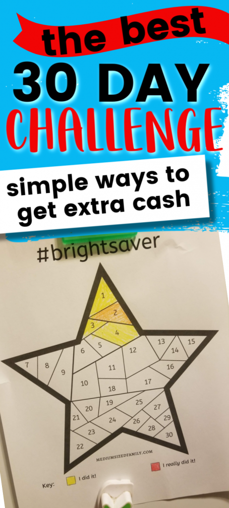 30 Day Challenge for saving money, frugal living, easy simple ways to get extra cash, 30 day money saving challenge, saving money chart, fun ways to save more money, cash