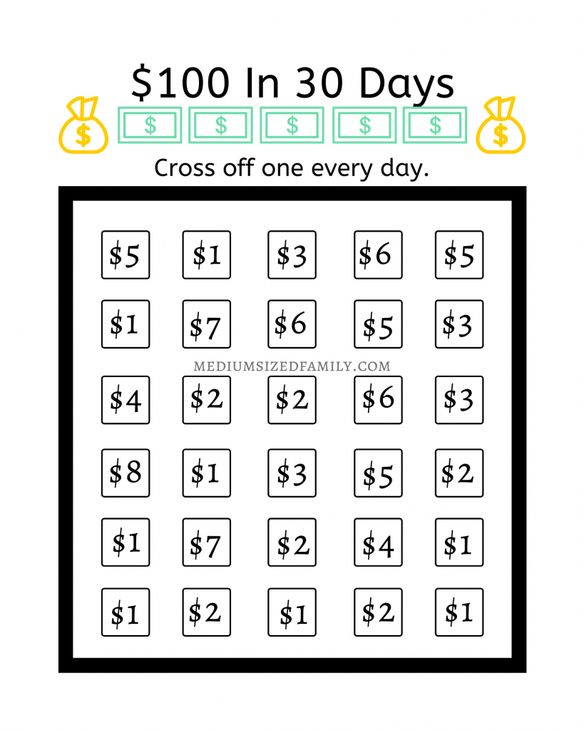 Use this money saving chart to easily save $100 in a month