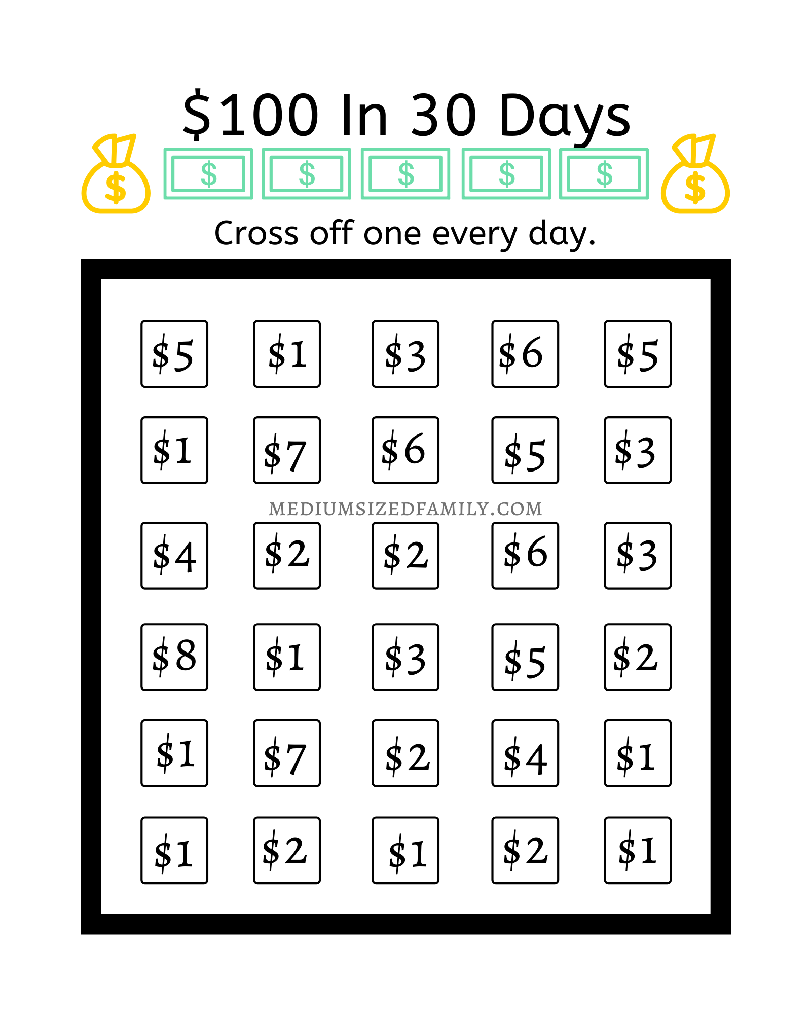 This Easy Money Chart Will Show You How to Save $100 A Month - Medium Sized  Family