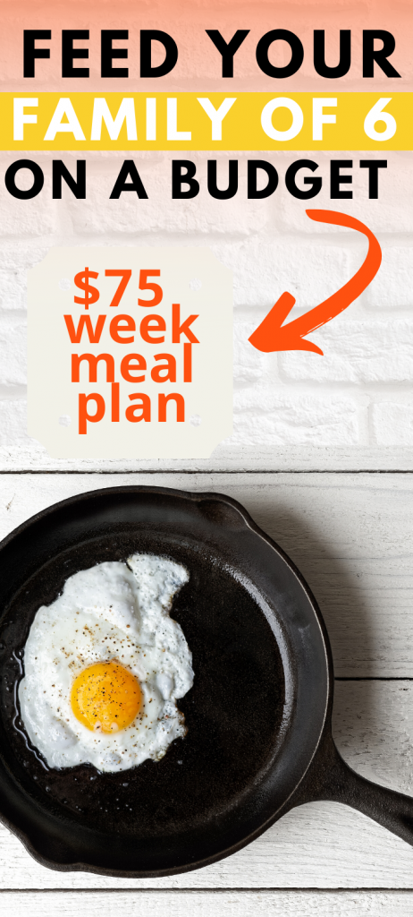 Feeding your family of 6 on a budget is possible with this meal plan to feed a family of 6 on $75 per week. Get cheap food and cheap groceries with this grocery list.