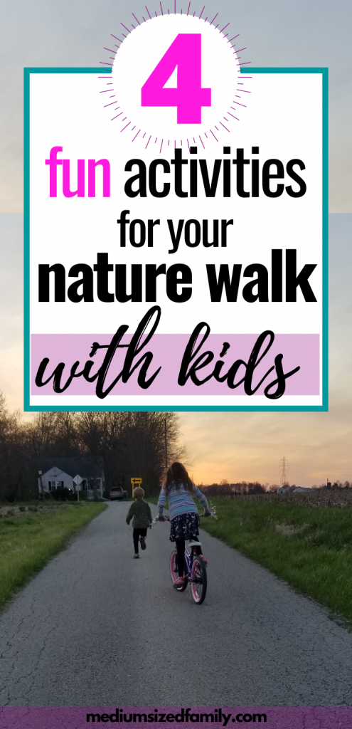 Nature walk activities with kids, ideas for fun nature walk for kids, free ways to have fun with family, family time activities, nature walk bingo, nature walk scavenger hunt, fun games to play while taking a walk, ideas to make a daily walk more interesting, ways to have fun outside with your kids