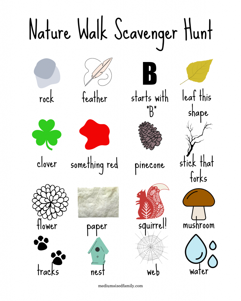 Get this nature walk scavenger hunt free printable pdf, scavenger hunt for kids and preschoolers, spring time scavenger hunt for outdoor walks and hikes, ideas for toddlers #scavengerhunt #activitesforkids #funwithkids