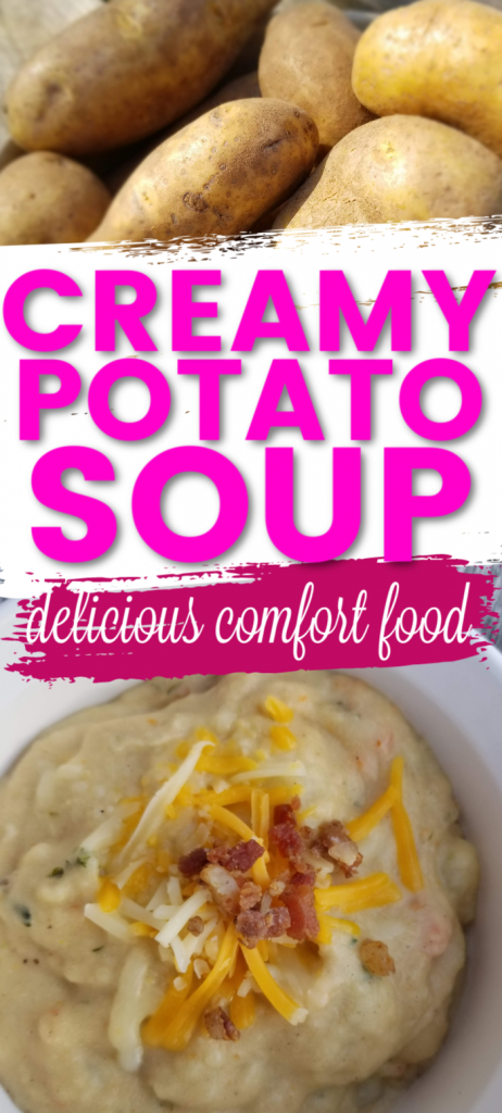 Creamy Potato Soup recipe, this delicious comfort food is the perfect meatless meal to serve your family. Use up leftover mashed potatoes and baked potatoes, homemade potato soup from scratch, a delicious frugal recipe with potatoes meal