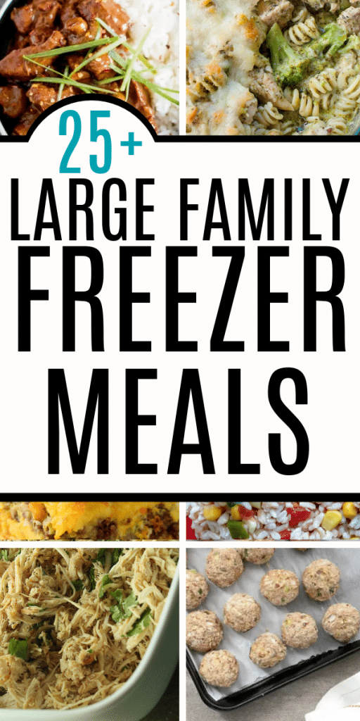 Best freezer meals for large families. Large family freezer meal recipes and ideas that are easy, cheap, simple ingredients. Good food to feed a crowd. Freezer friendly recipes for kids and families that feed a big family or large crowd of people. Yummy recipes you can freeze.