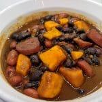 sausage sweet potato soup in a bowl